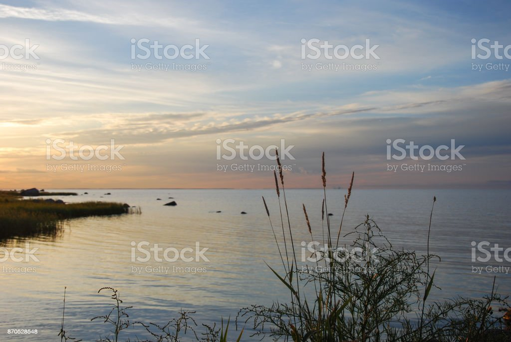 Calm summer evening by the coast stock photo