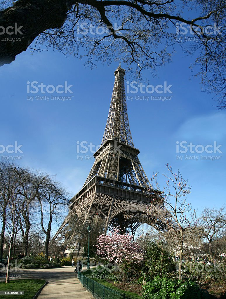 Calm sunny eiffel tower view - France stock photo