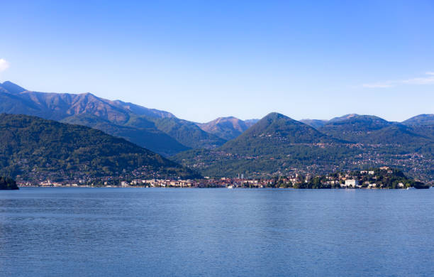 Calm view across an idylic  lake in Italy stock photo