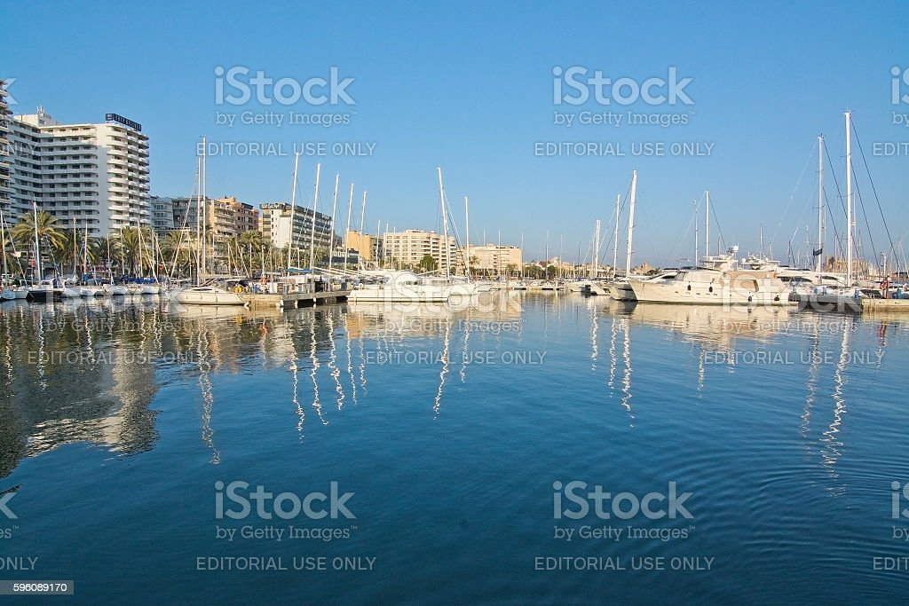 Calm water surface with reflections Portixol marina royalty-free stock photo