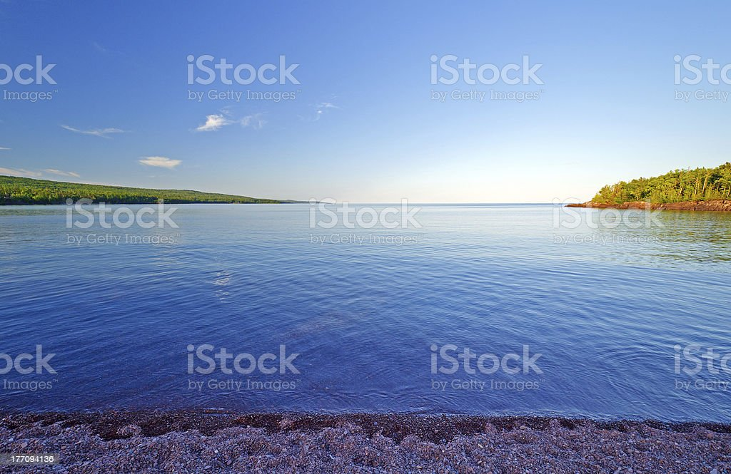 Calm waters in the evening stock photo