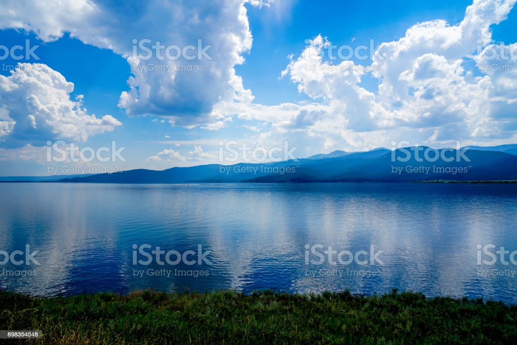 Calm Waters of Jackson Lake stock photo