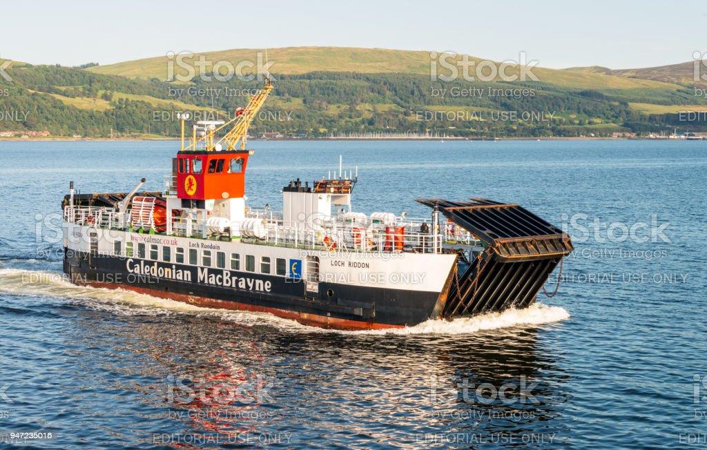 CalMac ferry approaching Cumbrae stock photo