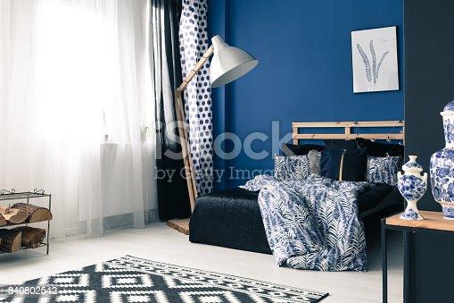 istock Calming bedroom with cobalt wall 840802542