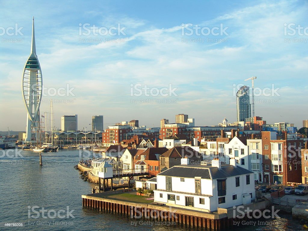 Calming water view of Spinnaker Tower at Gun Warf stock photo
