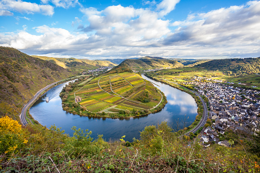 Calmont Moselle loop Landscape in golden autumn colors and the village Bremm Germany