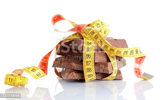 Chocolate Bar slimmed by a measuring tape.