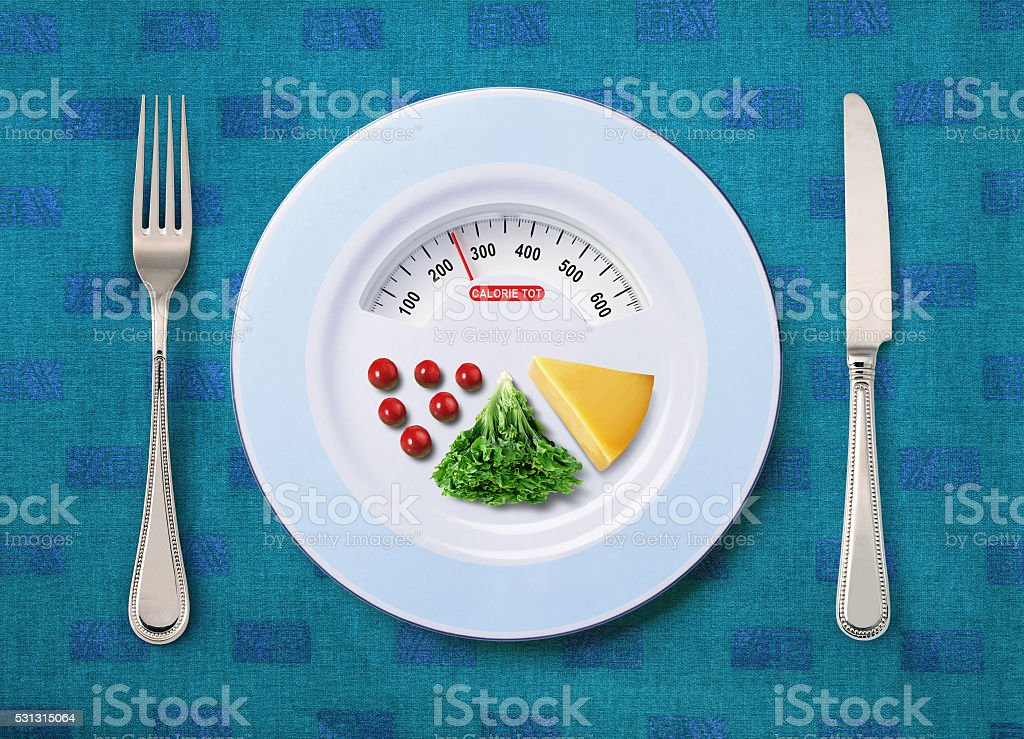 calorie tot of food stock photo