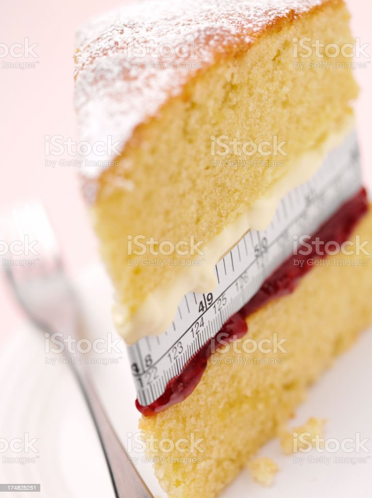 Calories and Sponge Cake royalty-free stock photo