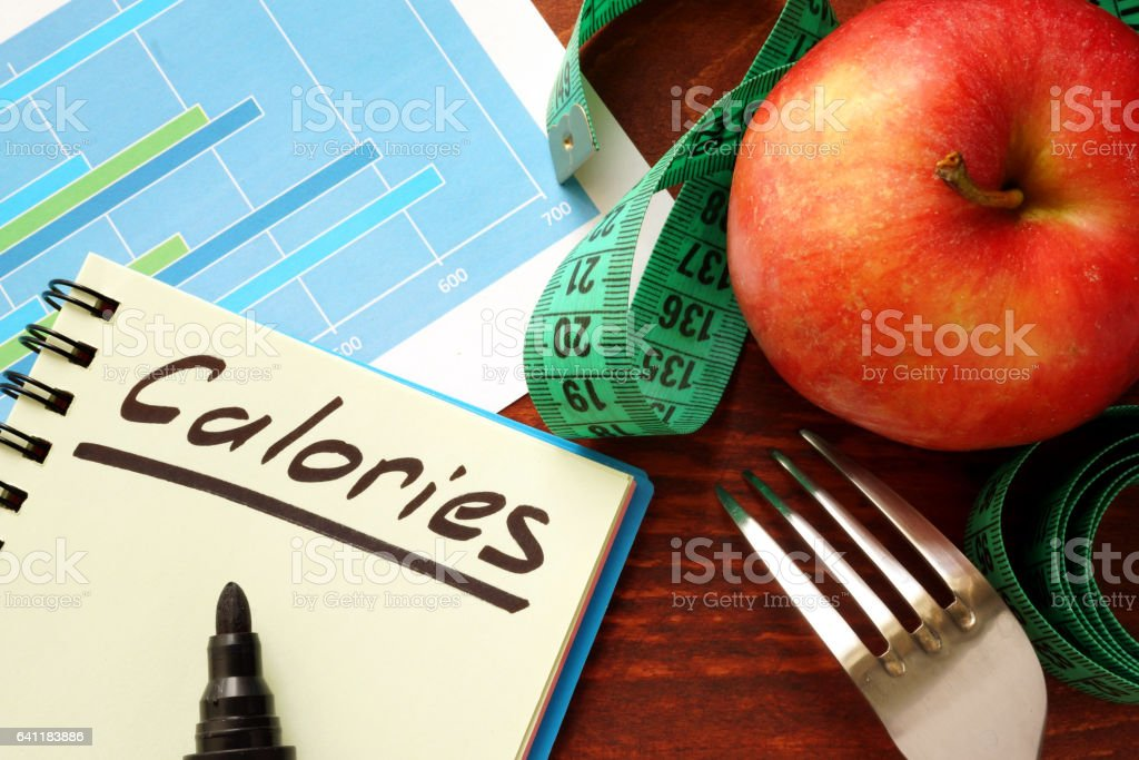 Calories written in a diary. Calorie counting concept. stock photo