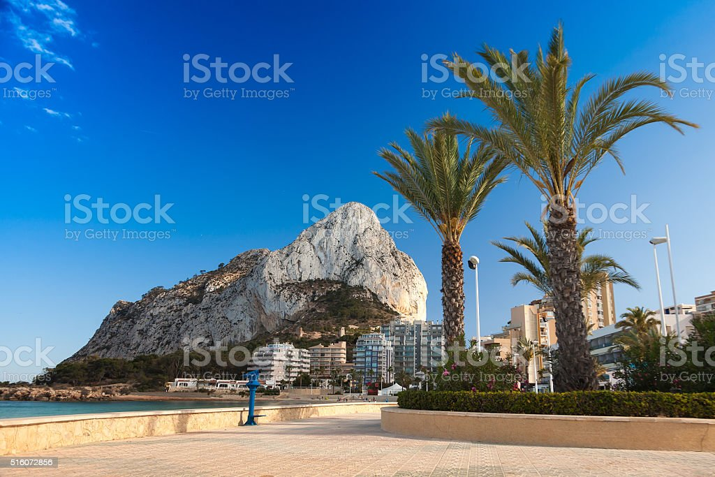 Calpe popular tourist resort. Alicante province, Spain, Europe. stock photo