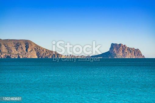 Calpe Skyline and Penon de Ifach view from Altea in Alicante at Mediterranean spain
