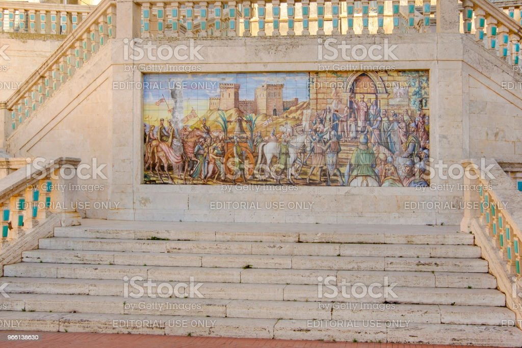 Caltagirone, polychrome majolica panel (Sicily, Italy) - Royalty-free Antique Stock Photo