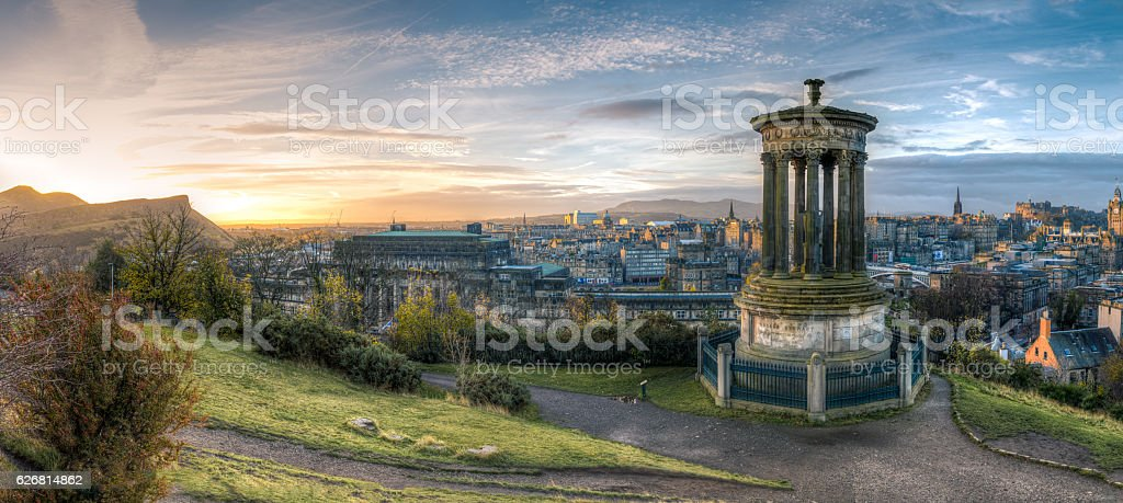 Calton Hill at sunrise stock photo