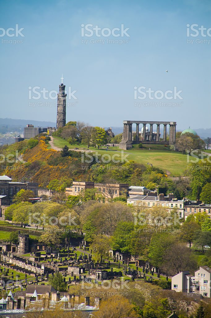 Calton Hill, Edinburgh during spring . stock photo