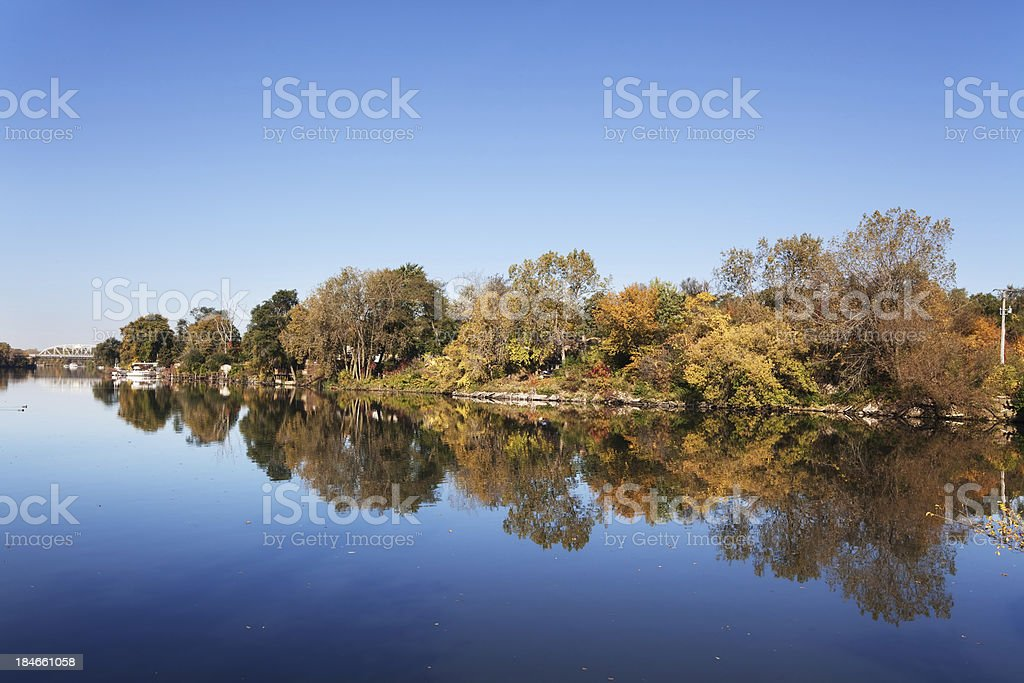 Calumet River and Autumn Trees  in West Pullman, Chicago royalty-free stock photo
