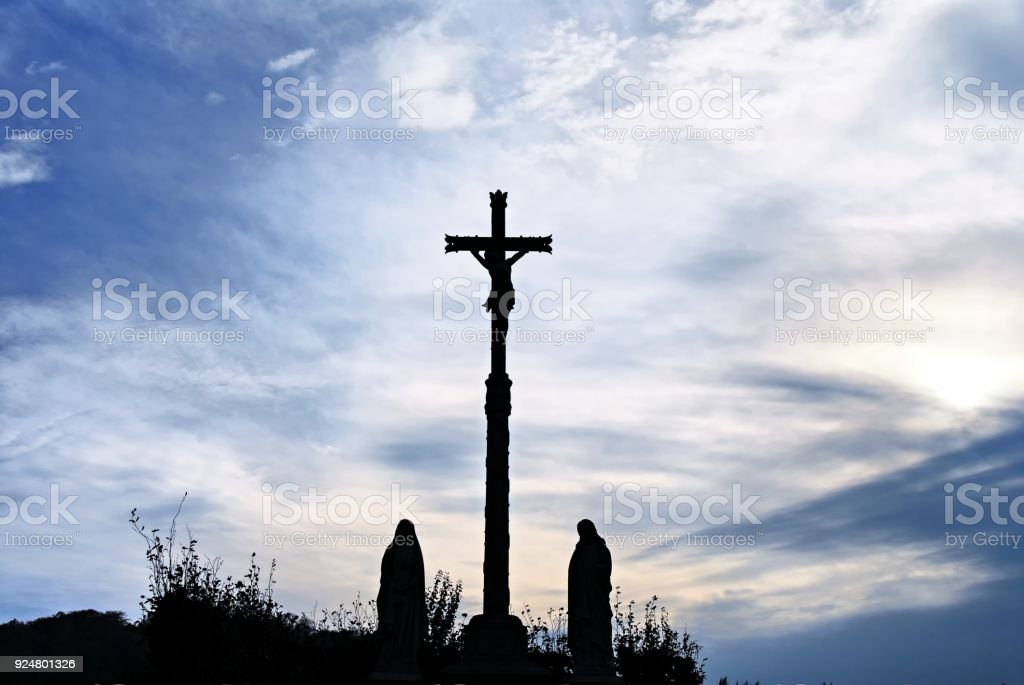 Calvaire at dusk in Normandy,France stock photo
