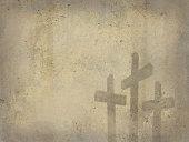Calvary Crosses Grunge Texture Christian Religion Cross Background Easter Resurrection