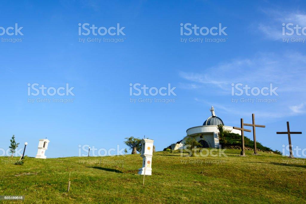 Calvary hill in Hercegkut stock photo