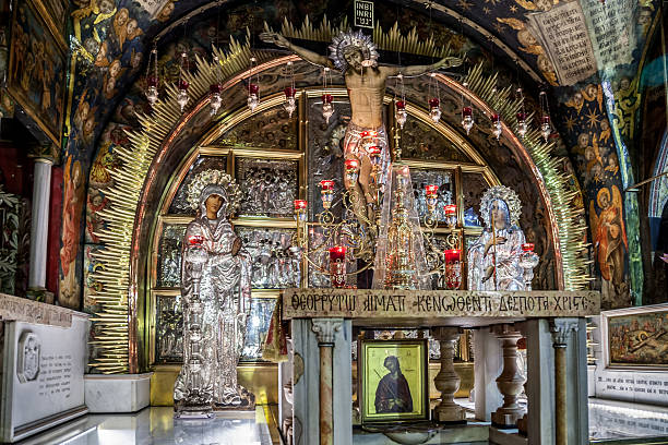 Calvary in the Church of Holy Sepulchre stock photo