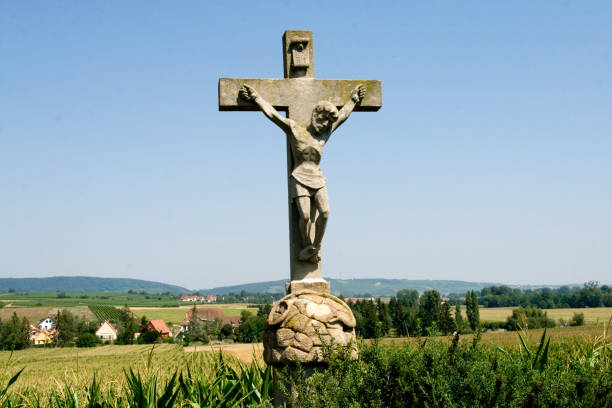 Calvary in the countryside stock photo