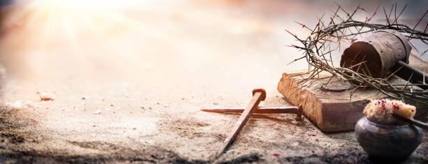Calvary Of Jesus Christ - Crown Of Thorns And Cross stock photo