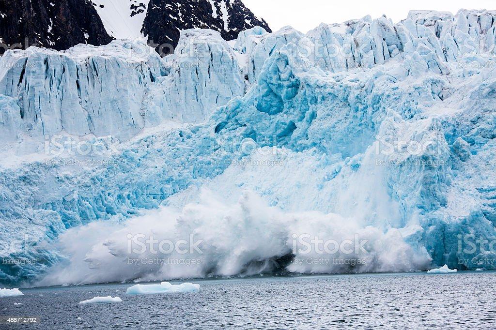 Calving glacier in Spitzbergen Monaco glacier stock photo