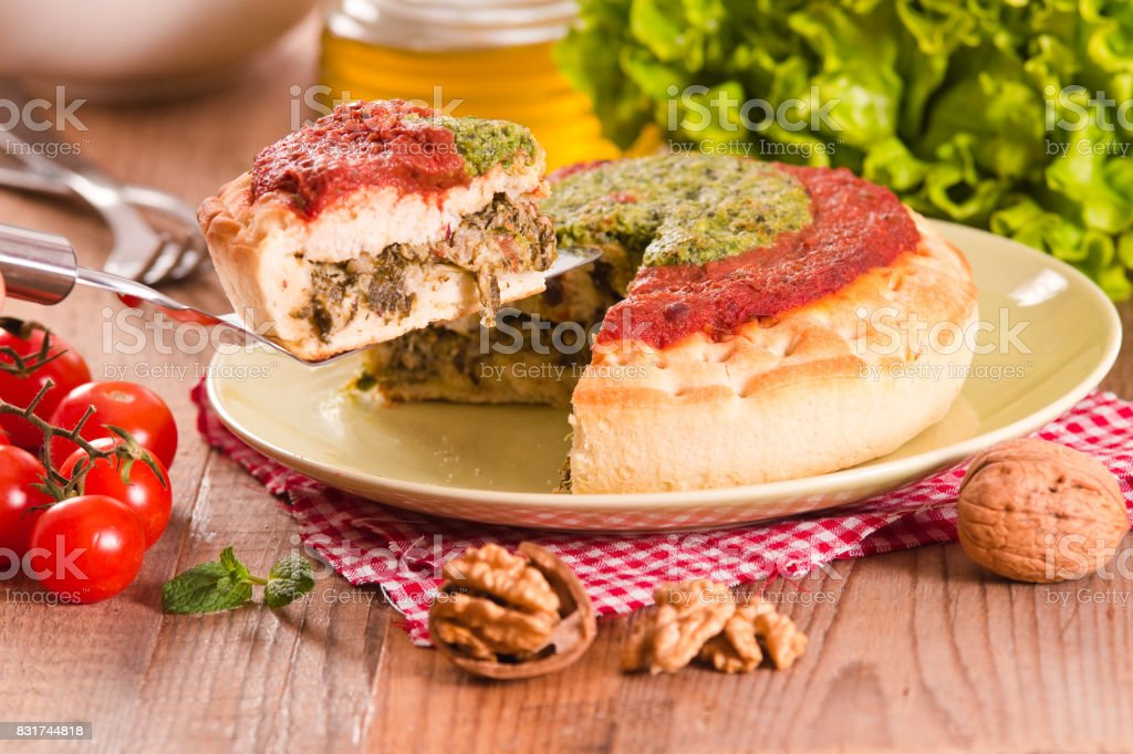 Calzone with walnuts and endive. stock photo