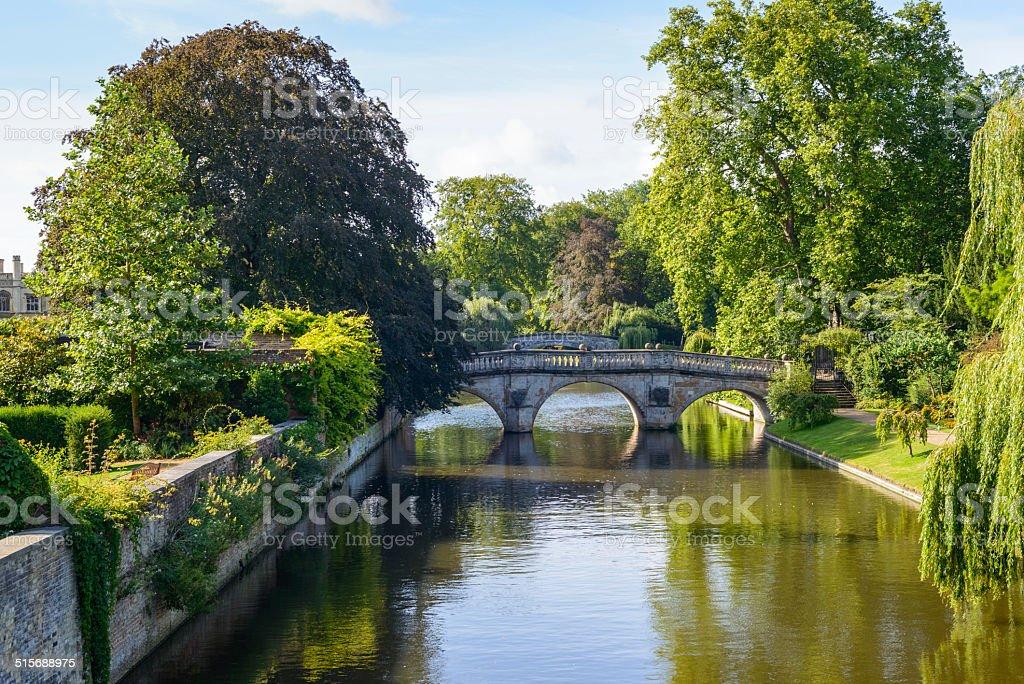 Cam River, Cambridge Clare Bridge Architecture Stock Photo