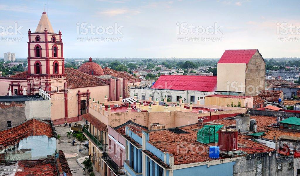 Camaguey, Cuba Camaguey cityscape with Iglesia De Soledad church on backgound, Cuba. The city is a UNESCO World Heritage Site Ancient Stock Photo