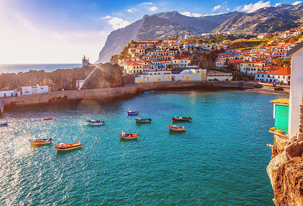 camara de lobos - madeira - rocky coastline stock pictures, royalty-free photos & images