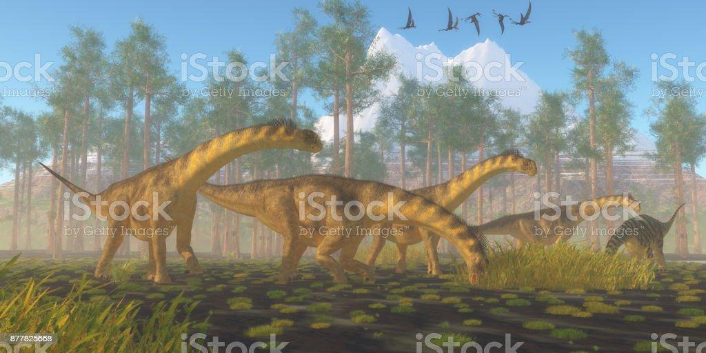 Camarasaurus Dinosaur Herd stock photo