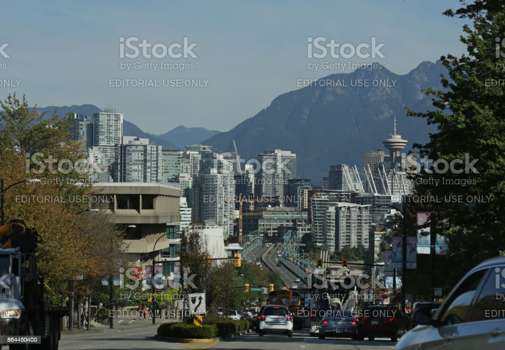 Cambie Bridge and Downtown Vancouver, Canada in Summer stock photo