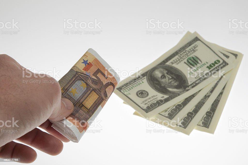 Cambio valuta dollari, euro stock photo
