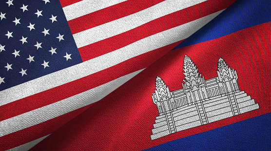 Cambodia And United States Two Flags Together Textile Cloth Fabric Texture Stock Photo - Download Image Now