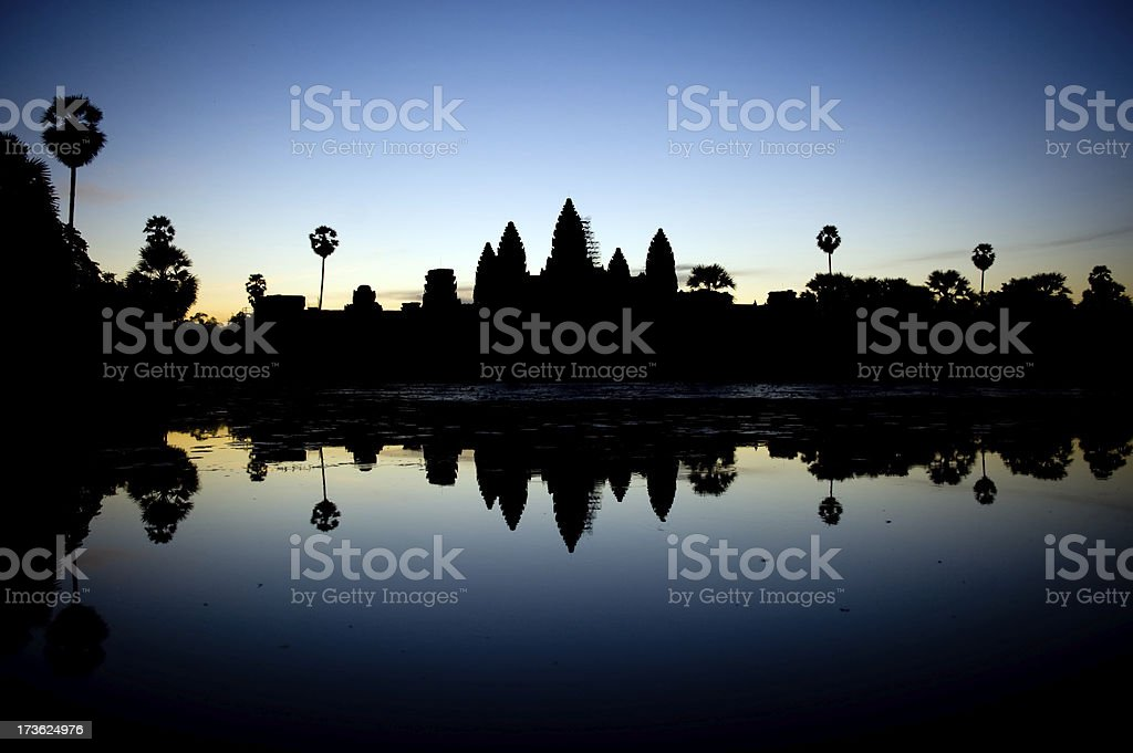 Cambodia : Angkor Wat Sunrise Silhouette royalty-free stock photo