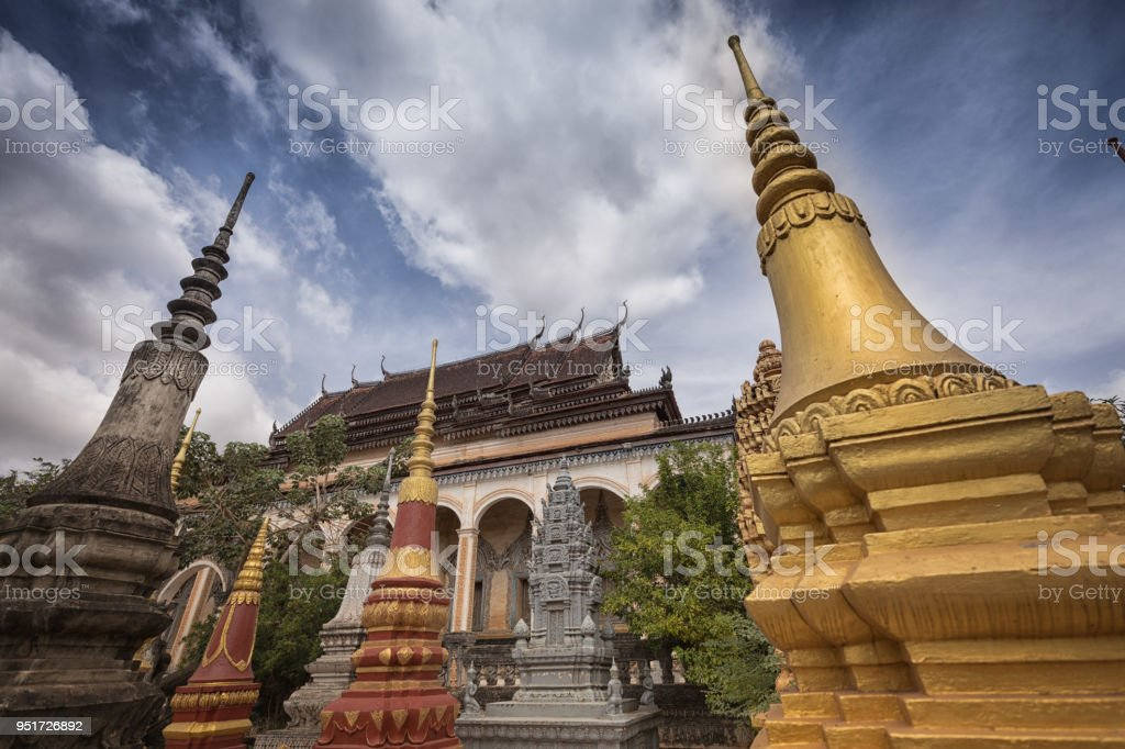 Cambodia Buddhist temple stock photo