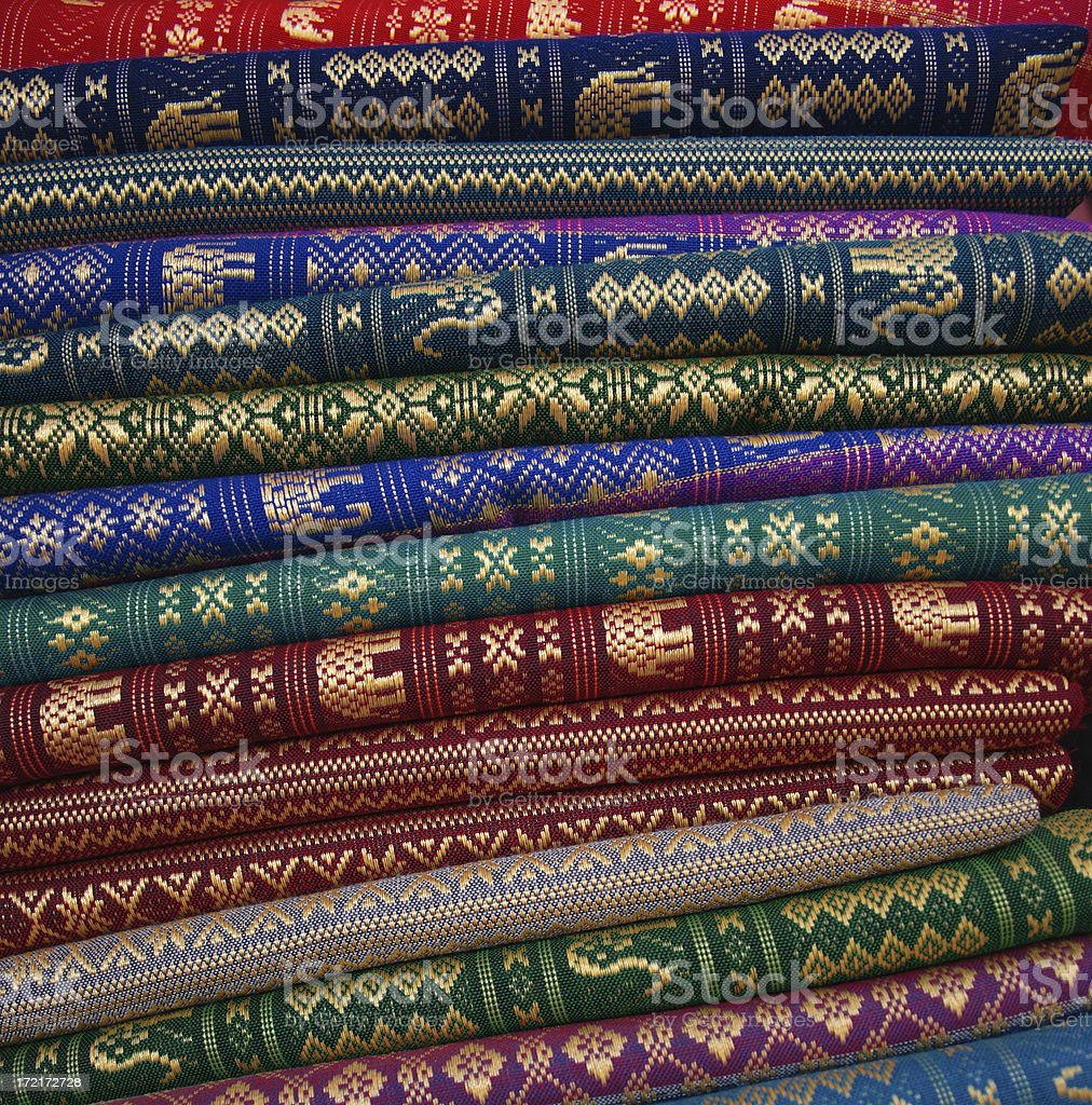 Cambodia: embroidered silk for sale in Siem Reap royalty-free stock photo