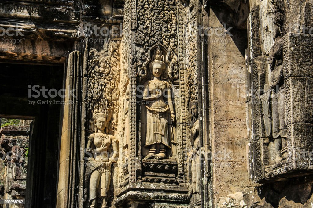 Cambodia Siem Reap Thommanon Apsara stone carving royalty-free stock photo