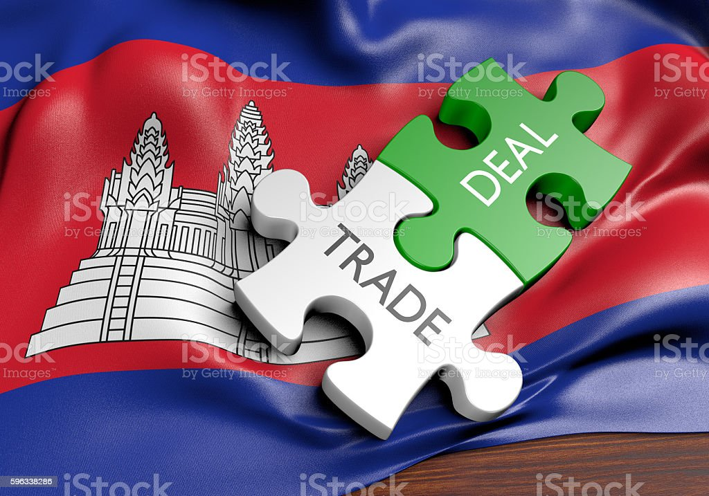 Cambodia trade deals and international commerce concept, 3D rendering royalty-free stock photo