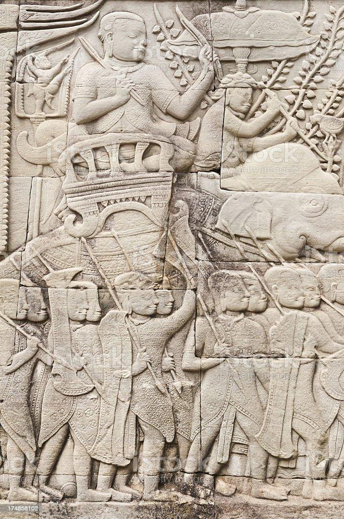 Cambodia wall carving royalty-free stock photo