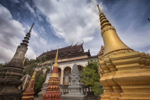 Cambodian Buddhist temple and stupas stock photo