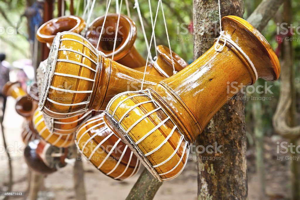 Cambodian drum musical instruments. stock photo