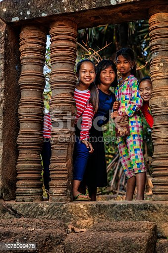 Cambodian little girls in village near Siem Reap, Cambodia