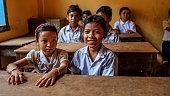 Cambodian school children during class, Tonle Sap, Cambodia