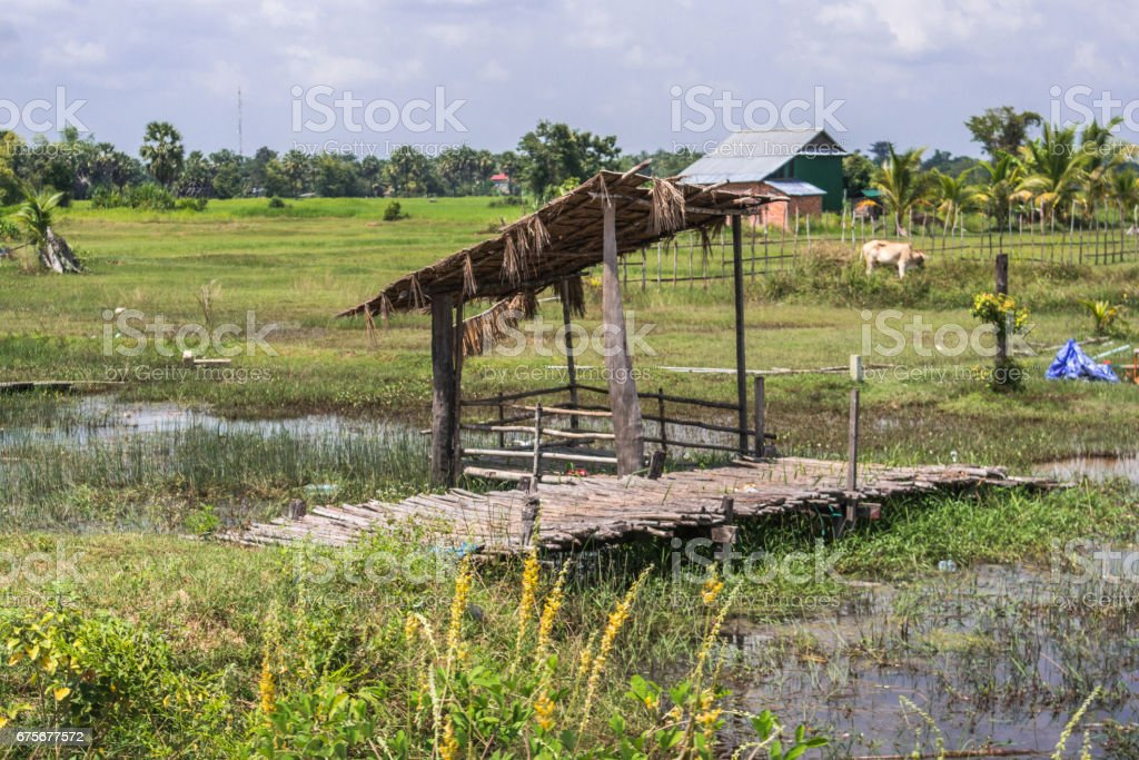 Cambodian small pier for boats royalty-free stock photo