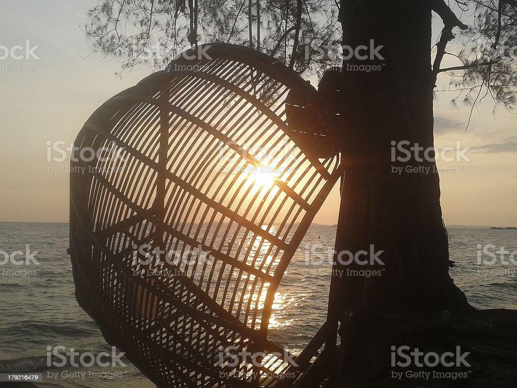 Cambodian sun set stock photo