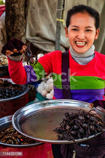 Cambodian woman selling insects and tarantulas on a street market, Cambodia. Deep fried tarantulas are a delicacy in Cambodia.