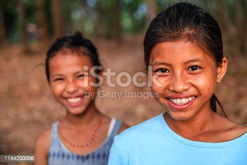 Cambodian young girls in village near Siem Reap, Cambodia