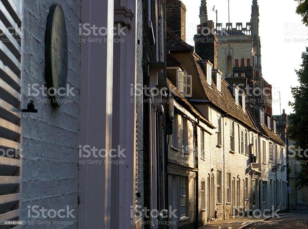Cambridge, England Street At Dusk stock photo